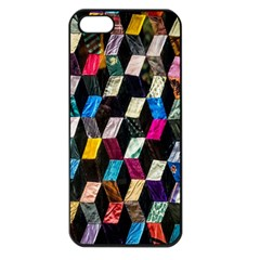 Abstract Multicolor Cubes 3d Quilt Fabric Apple Iphone 5 Seamless Case (black) by Onesevenart