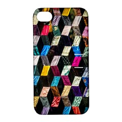 Abstract Multicolor Cubes 3d Quilt Fabric Apple Iphone 4/4s Hardshell Case With Stand by Onesevenart