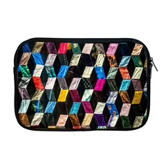 Abstract Multicolor Cubes 3d Quilt Fabric Apple Macbook Pro 17  Zipper Case by Onesevenart