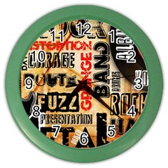 Guitar Typography Color Wall Clocks by Onesevenart