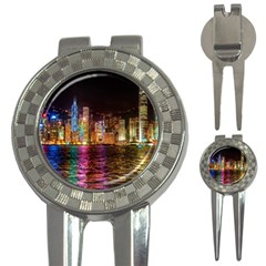 Light Water Cityscapes Night Multicolor Hong Kong Nightlights 3-in-1 Golf Divots by Onesevenart