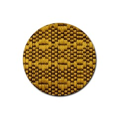 Golden Pattern Fabric Rubber Round Coaster (4 Pack)  by Onesevenart