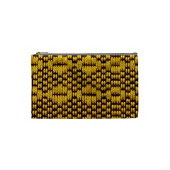 Golden Pattern Fabric Cosmetic Bag (small)  by Onesevenart