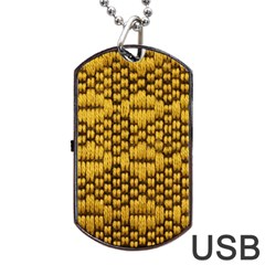 Golden Pattern Fabric Dog Tag Usb Flash (one Side) by Onesevenart