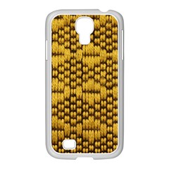 Golden Pattern Fabric Samsung Galaxy S4 I9500/ I9505 Case (white) by Onesevenart