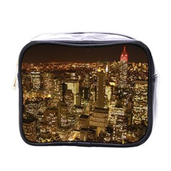 New York City At Night Future City Night Mini Toiletries Bags by Onesevenart