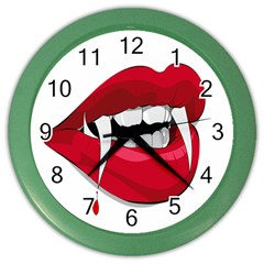 Mouth Jaw Teeth Vampire Blood Color Wall Clocks by Simbadda