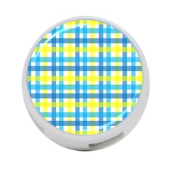 Gingham Plaid Yellow Aqua Blue 4-Port USB Hub (One Side) by Simbadda