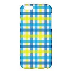 Gingham Plaid Yellow Aqua Blue Apple Iphone 6 Plus/6s Plus Hardshell Case by Simbadda