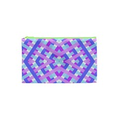 Geometric Gingham Merged Retro Pattern Cosmetic Bag (xs) by Simbadda
