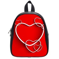 Heart Love Valentines Day Red School Bags (small)  by Alisyart