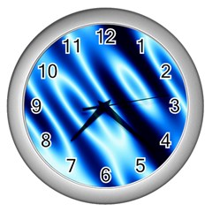 Grunge Blue White Pattern Background Wall Clocks (silver)  by Simbadda