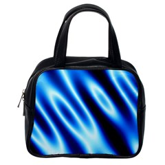 Grunge Blue White Pattern Background Classic Handbags (one Side) by Simbadda