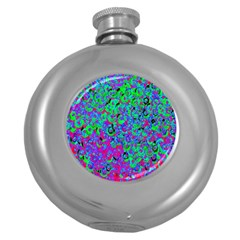Green Purple Pink Background Round Hip Flask (5 Oz) by Simbadda