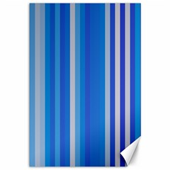 Color Stripes Blue White Pattern Canvas 12  X 18   by Simbadda