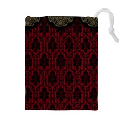 Elegant Black And Red Damask Antique Vintage Victorian Lace Style Drawstring Pouches (extra Large) by yoursparklingshop
