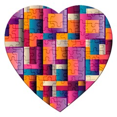 Abstract Background Geometry Blocks Jigsaw Puzzle (heart) by Simbadda