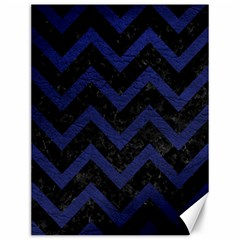 Chevron9 Black Marble & Blue Leather Canvas 12  X 16  by trendistuff