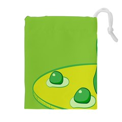 Food Egg Minimalist Yellow Green Drawstring Pouches (extra Large) by Alisyart