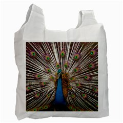 Indian Peacock Plumage Recycle Bag (two Side)  by Simbadda