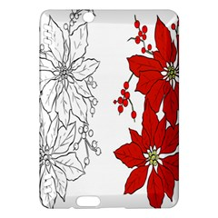 Poinsettia Flower Coloring Page Kindle Fire Hdx Hardshell Case by Simbadda