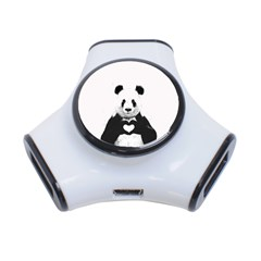 Panda Love Heart 3 Port Usb Hub by Onesevenart