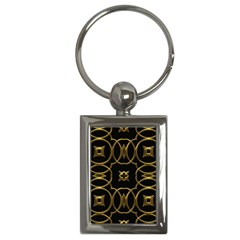 Black And Gold Pattern Elegant Geometric Design Key Chains (rectangle)  by yoursparklingshop