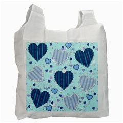 Hearts Pattern Paper Wallpaper Recycle Bag (two Side)  by Onesevenart