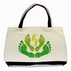 Soles Feet Green Yellow Family Basic Tote Bag