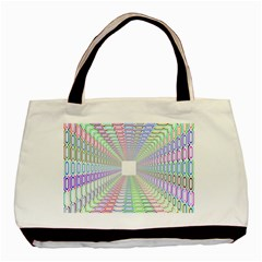 Tunnel With Bright Colors Rainbow Plaid Love Heart Triangle Basic Tote Bag