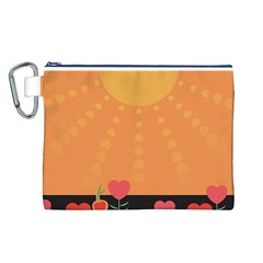 Love Heart Valentine Sun Flowers Canvas Cosmetic Bag (l) by Simbadda