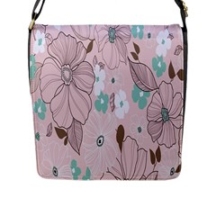 Background Texture Flowers Leaves Buds Flap Messenger Bag (l)  by Simbadda