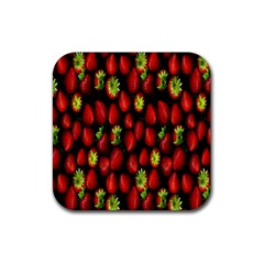 Berry Strawberry Many Rubber Coaster (square)