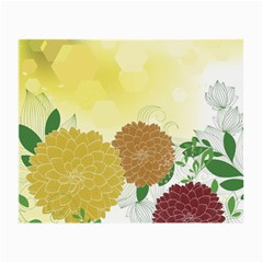 Abstract Flowers Sunflower Gold Red Brown Green Floral Leaf Frame Small Glasses Cloth (2 Side)