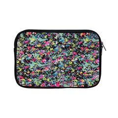 Neon Floral Print Silver Spandex Apple Ipad Mini Zipper Cases by Simbadda
