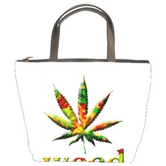 Marijuana Leaf Bright Graphic Bucket Bags by Simbadda