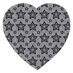 Star Grey Black Line Space Jigsaw Puzzle (heart) by Alisyart