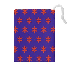 Flower Floral Different Colours Purple Orange Drawstring Pouches (extra Large) by Alisyart