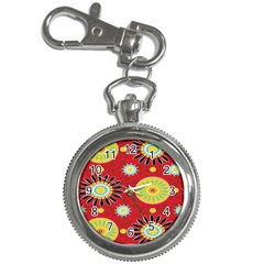 Sunflower Floral Red Yellow Black Circle Key Chain Watches by Alisyart