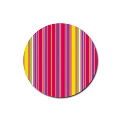 Stripes Colorful Background Rubber Round Coaster (4 Pack)  by Simbadda