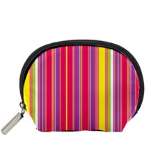 Stripes Colorful Background Accessory Pouches (small)  by Simbadda