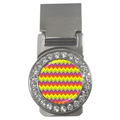 Colorful Zigzag Stripes Background Money Clips (CZ)  by Simbadda