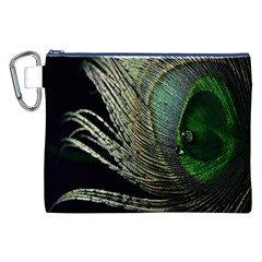 Feather Peacock Drops Green Canvas Cosmetic Bag (XXL) by Simbadda