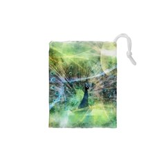 Digitally Painted Abstract Style Watercolour Painting Of A Peacock Drawstring Pouches (xs)  by Simbadda