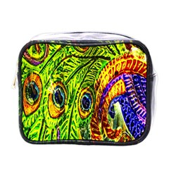 Glass Tile Peacock Feathers Mini Toiletries Bags by Simbadda