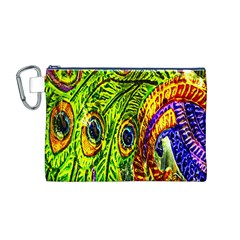 Glass Tile Peacock Feathers Canvas Cosmetic Bag (M) by Simbadda