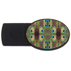 Beautiful Peacock Feathers Seamless Abstract Wallpaper Background Usb Flash Drive Oval (2 Gb)