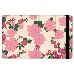Vintage Floral Wallpaper Background In Shades Of Pink Apple iPad 2 Flip Case by Simbadda