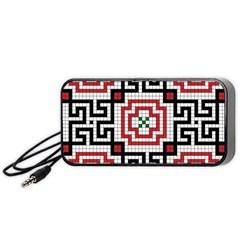Vintage Style Seamless Black White And Red Tile Pattern Wallpaper Background Portable Speaker (black)
