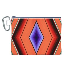 Diamond Shape Lines & Pattern Canvas Cosmetic Bag (l) by Simbadda